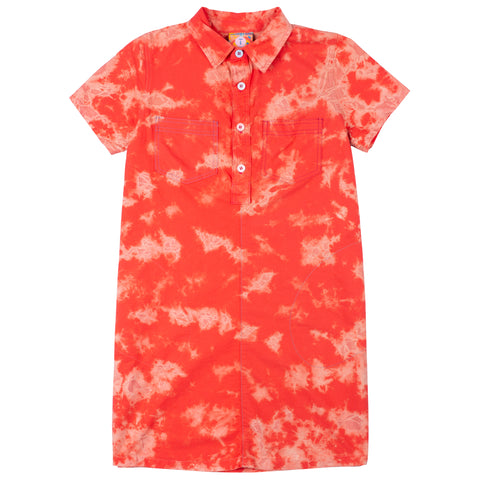 Fire Coral Shirt Dress