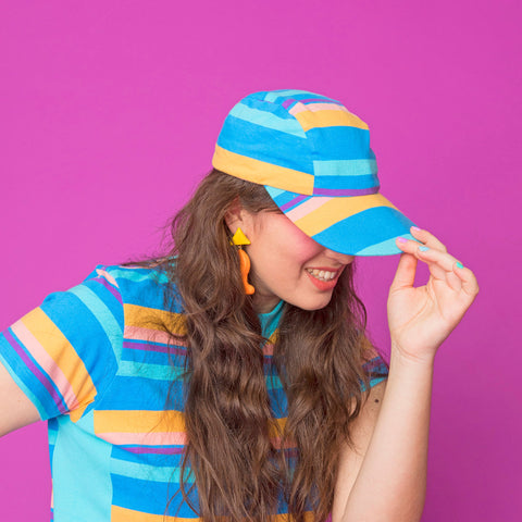 Pinwheel Knit Stripe Hat