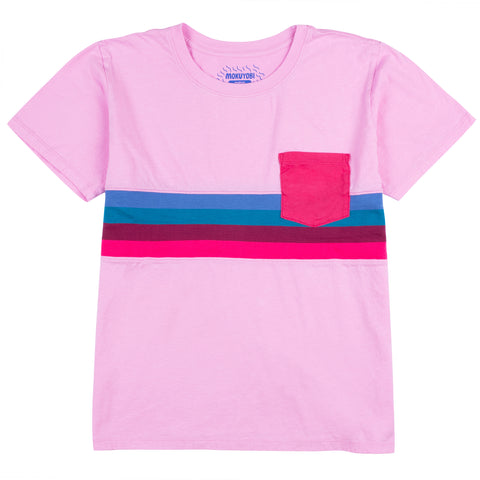 Zazz Berry Knit Stripe Pocket Tee