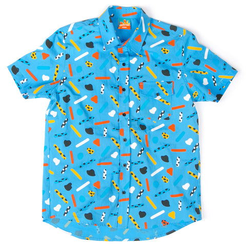 Pop Play Button Up Shirt