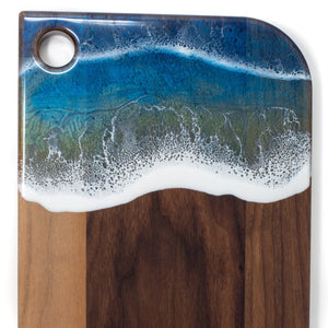 :Walnut serving board - shimmering ocean waves