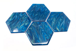 Coasters - shimmering blue feather FREE SHIPPING