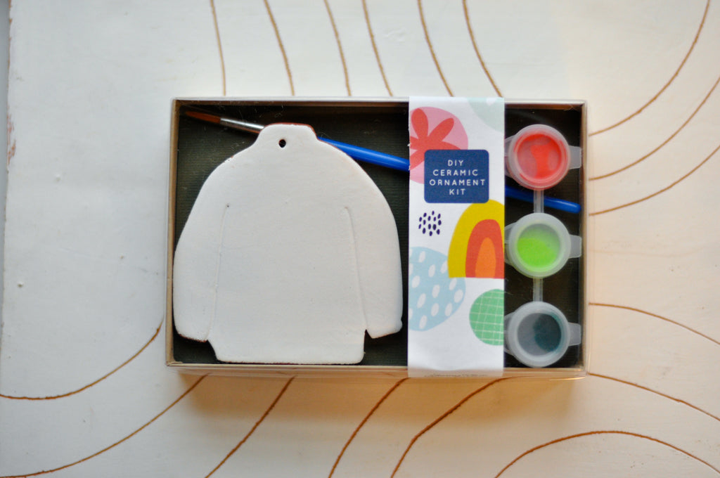 DIY Kit:  Ceramic Sweater Ornament Painting Kit by Jenny Sue