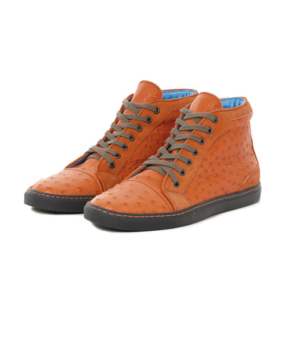 Tangerine High-top Ostrich Leather