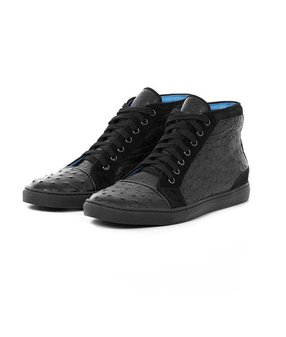 Black High-top in Ostrich Leather