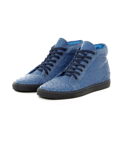 Brilliant Blue High-tops in Ostrich Leather