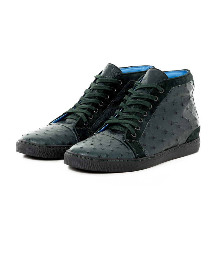 Petrol High-top in Ostrich Leather