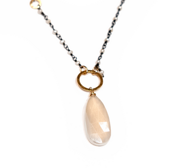 Calliope Freshwater Pearl and White Chalcedony Drop Necklace