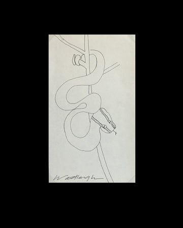Original Pen and Ink Drawing by Woodleigh Marx Hubbard: Don't Trouble a Quiet Snake