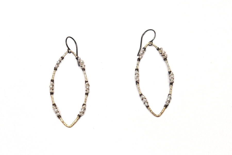 Calliope Almond Shaped Gold and Freshwater Pearl Earrings