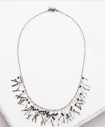 Zuzko Boa Necklace in Black Garnet