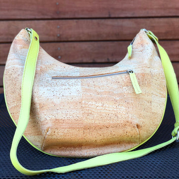 Cork Cross-body Handbag with Lime Green Leather Details