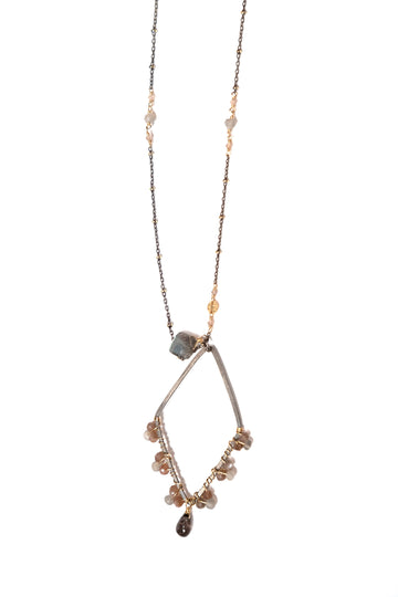 Calliope Necklace with Diamond Shaped Pendant of Labradorite and Moonstone