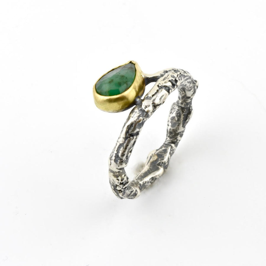 Emerald and Twig Band Ring