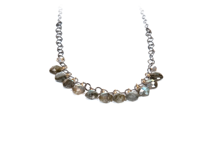 Calliope Cascading Labradorite and Sterling Silver Necklace