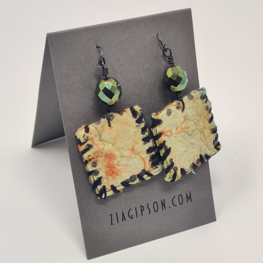 Stitched Squares with Bead Earrings by Zia Gipson
