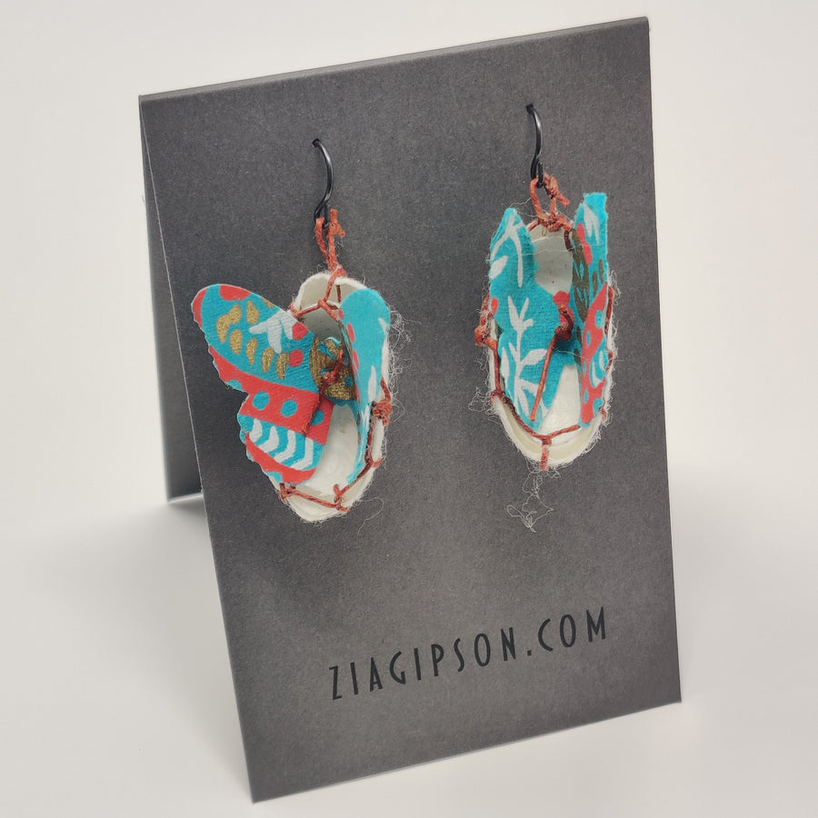 Teal and Coral Earrings by Zia Gipson