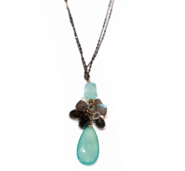 Calliope Labradorite and Chalcedony Cluster Necklace