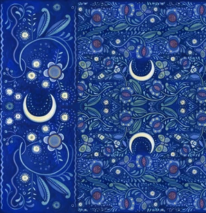 New Moon, Blue Moon Scarf by Julie Paschkis