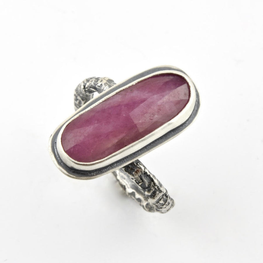 Pink Sapphire and Twig Ring
