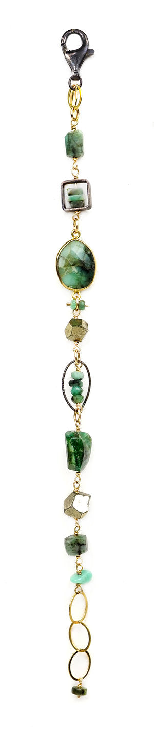 Emerald and Pyrite Beads Bracelet by Calliope