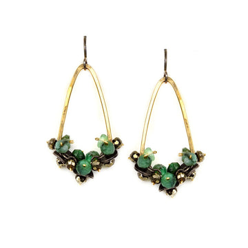 Hammered Arch Earrings with Emerald and Pyrite Clusters