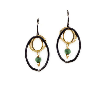Emerald Bead and Oval Drop Earrings
