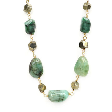 Chunky Emerald and Pyrite Necklace