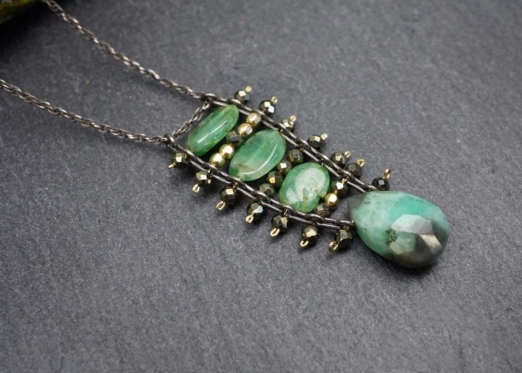 Emerald and Pyrite Ladder Necklace by Calliope