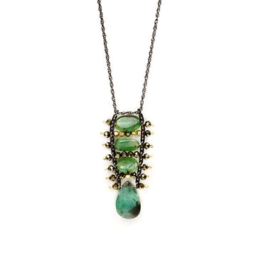 Emerald and Pyrite Ladder Necklace