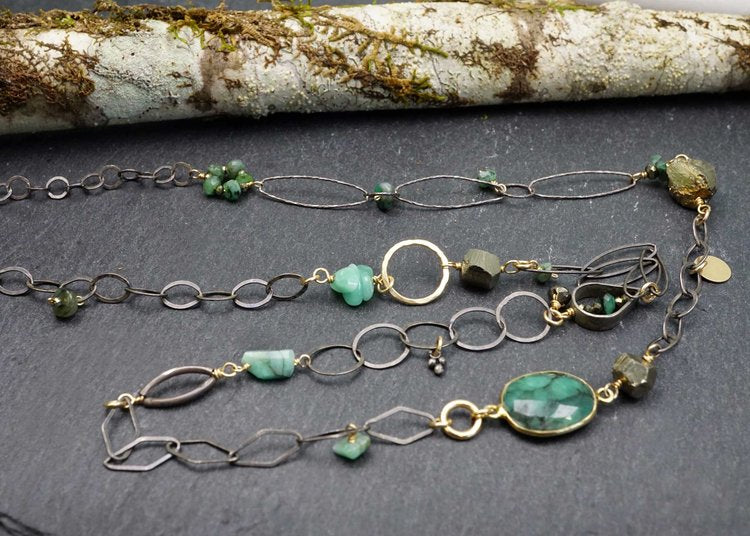 Long Emerald and Pyrite Necklace by Calliope