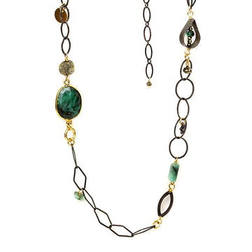 Long Emerald and Pyrite Necklace