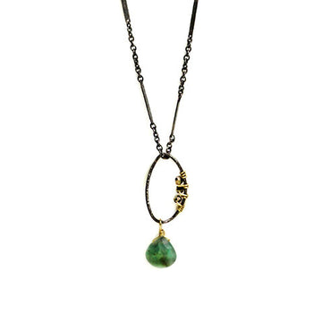 Twisted Oval Pendant with Emerald Drop Necklace