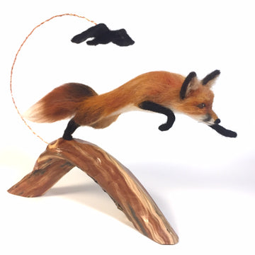 Felted Fox Sculpture: Spring