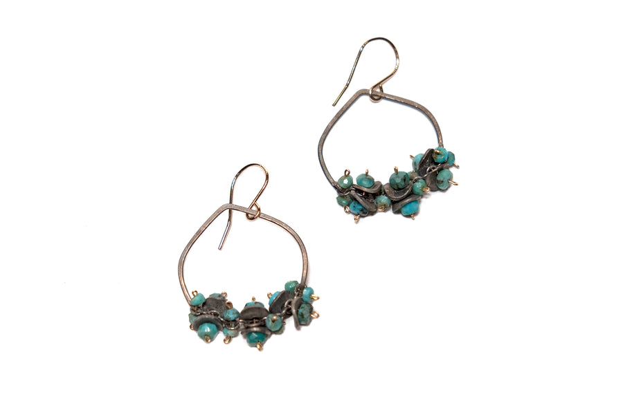 Turquoise and Sterling Silver Chip Earrings by Calliope