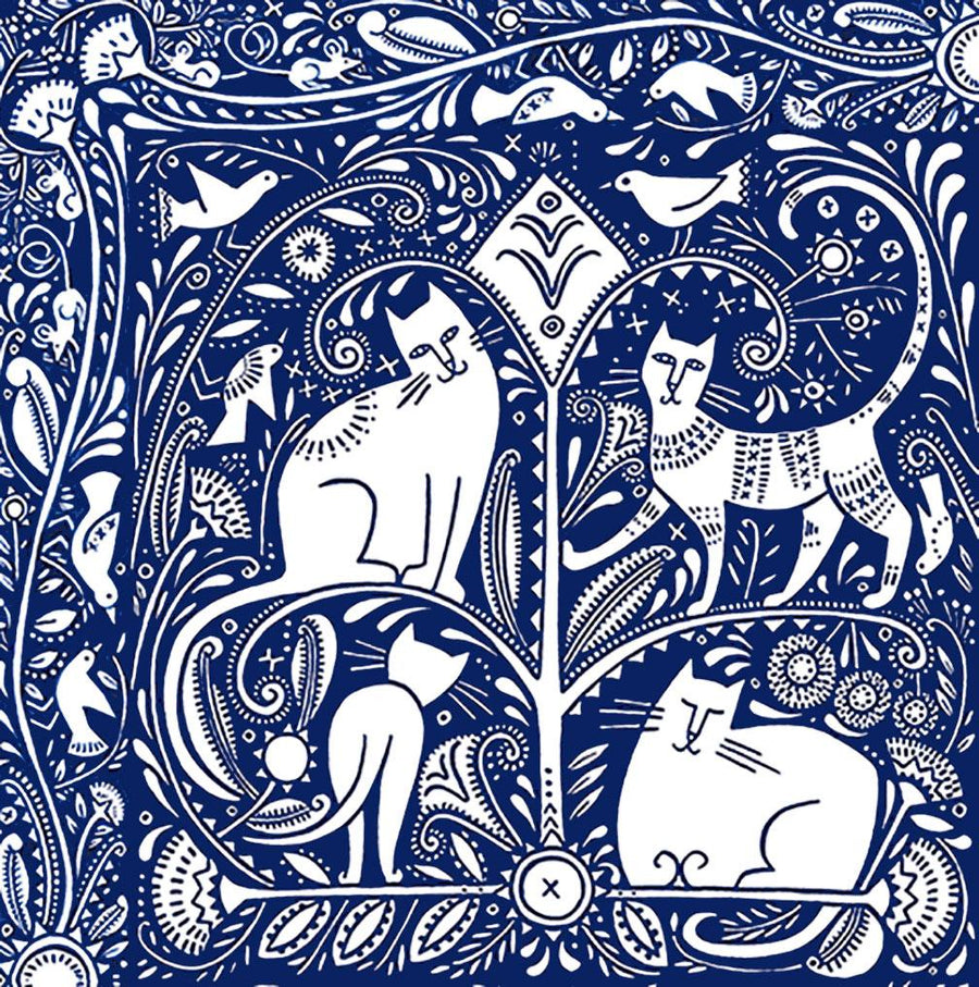 Indigo Cats Silk Scarf by Julie Paschkis