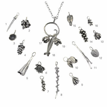 Botanical Charm Necklace with Three Assorted Charms