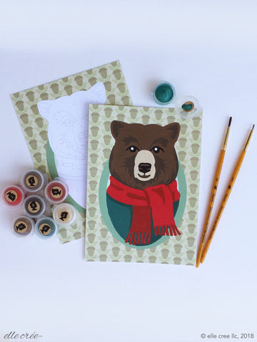 Paint Your Own Holiday Cards Set - Bear