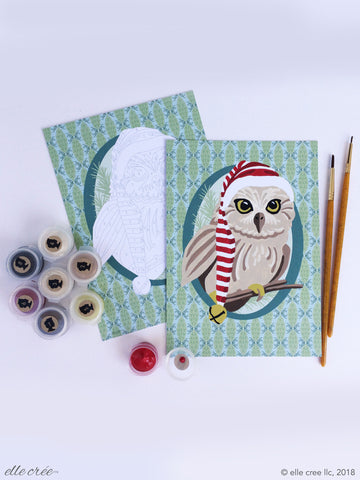 Paint Your Own Holiday Cards Set - Owl