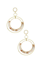 Load image into Gallery viewer, Neptune's Moon Blush Resin Hoop 18k Gold Plated Earrings