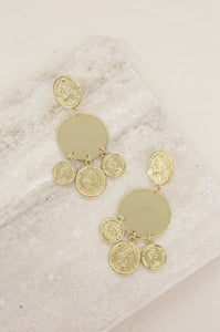 Ios Coin Statement 18k Gold Plated Earrings
