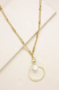 Encircled Pearl Pendant 18k Gold Plated Necklace