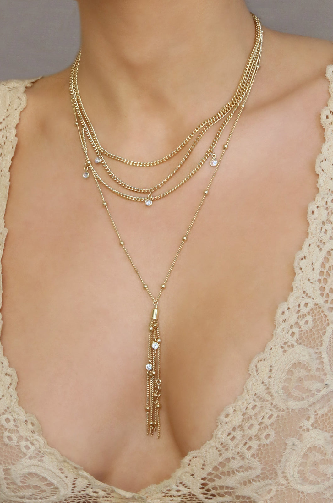 Layered Chain Drop Tassel 18k Gold Plated Necklace