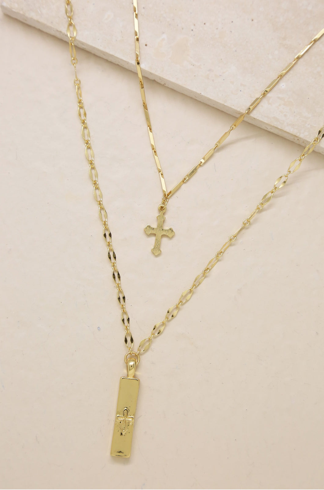 Your Highness 18k Gold Plated Cross Necklace Set