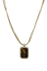 Resin Rectangle Tortoise Pendant Necklace