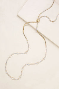 Line Up Crystal Chain & Gold Adjustable Necklace