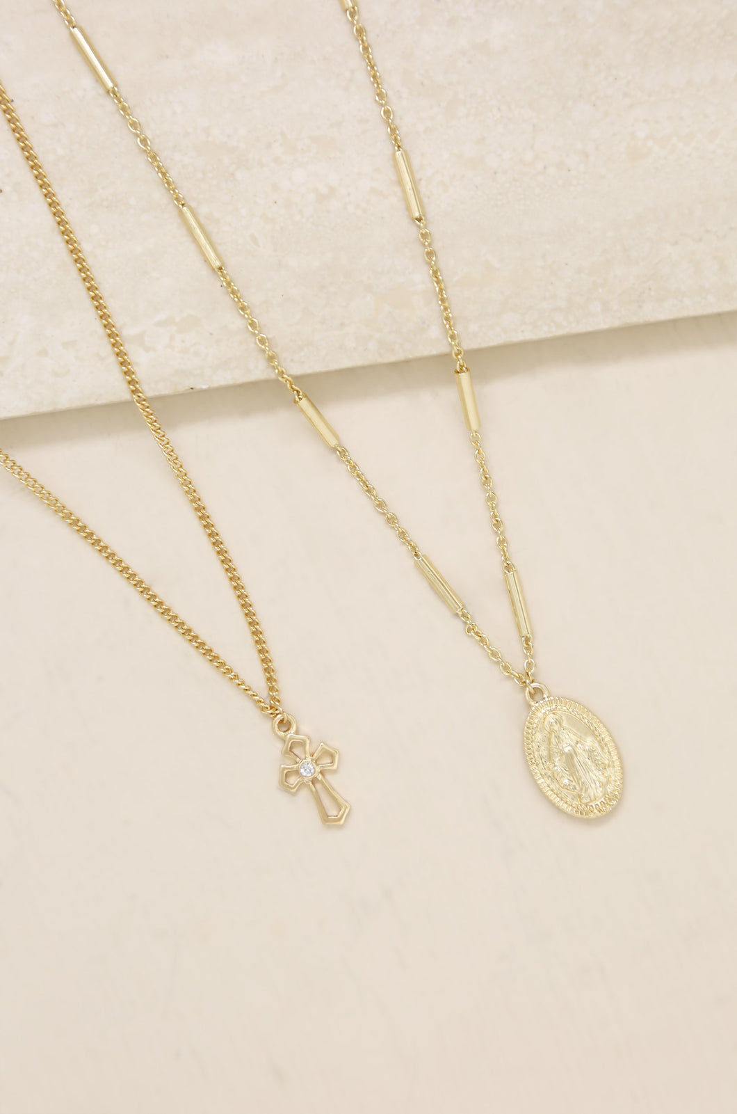 Memento Cross and Coin 18k Gold Plated Necklace Set