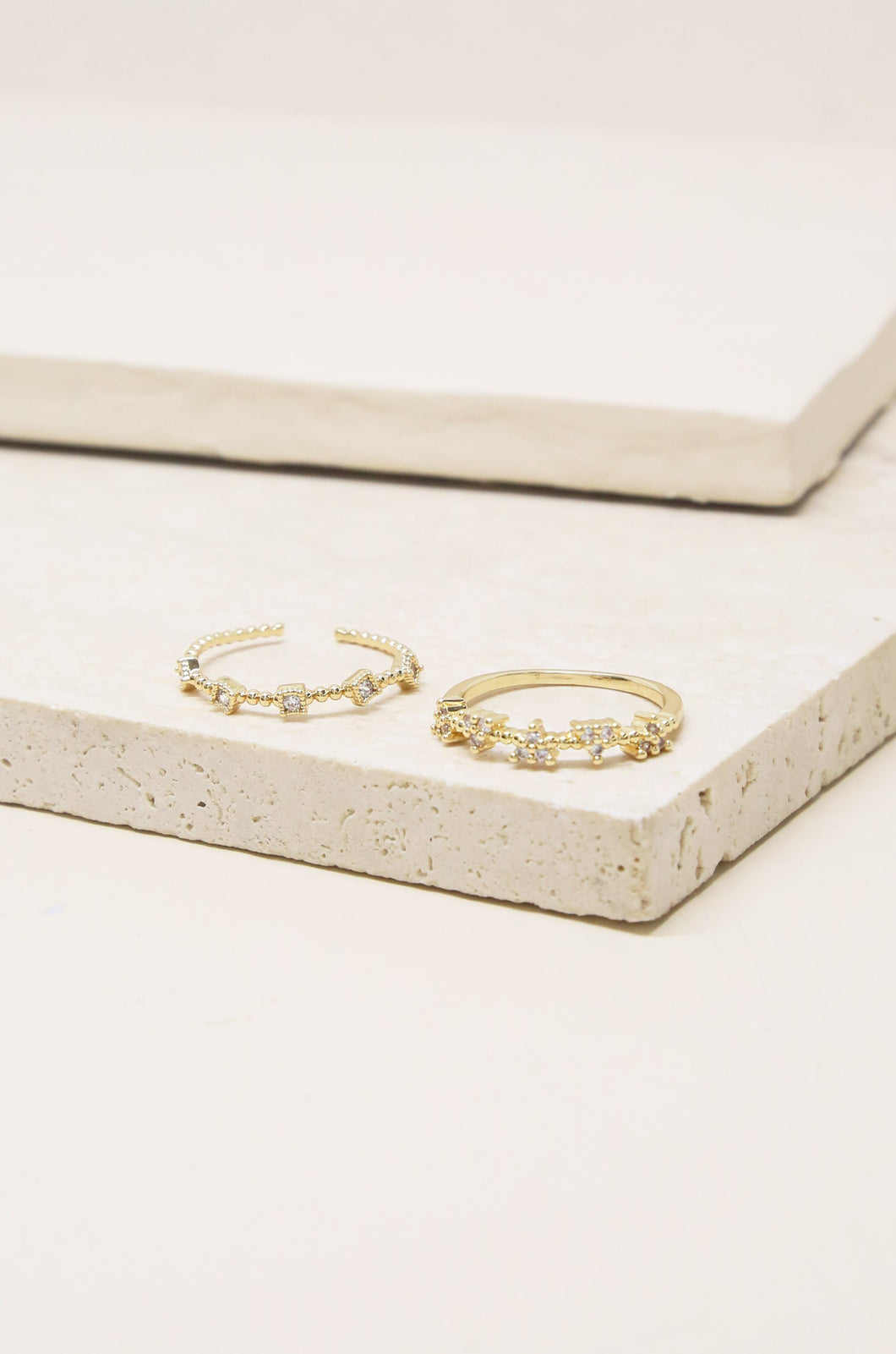 Galapagos Stack 18k Gold Plated Ring Set of 2