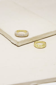 Thick Pave & Textured 18k Gold Plated Ring Band Set