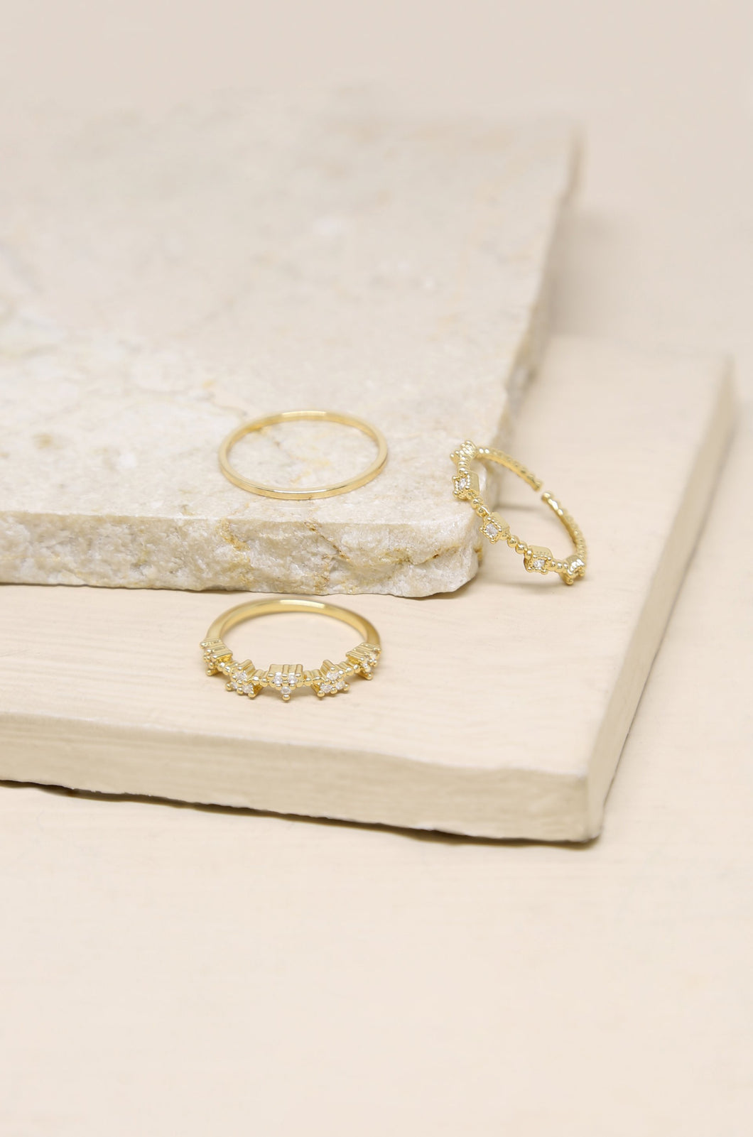 The In Crowd 18k Gold Plated Crystal Ring Set of 3